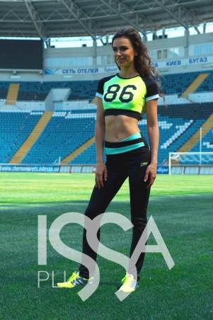 ISSA PLUS. Черные спортивные брюки с бирюзовым поясом. Артикул: 526_черный/бирюзовый