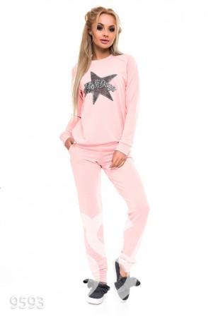 ISSA PLUS. Розовый спортивный костюм с аппликацией звезды на груди. Артикул: 9593_розовый