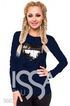 ISSA PLUS. Синий батник с надписями и вышивкой сердца пайетками. Артикул: 3682_синий