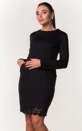 Zanna Brend. Элегантное черное платье с поясом и гипюровой вставкой. Артикул: 7399