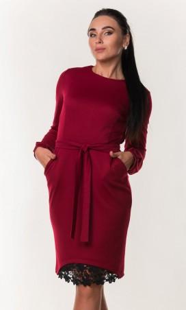 Zanna Brend. Модное женское платье с поясом и гипюровой вставкой. Артикул: 7280