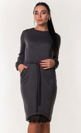 Zanna Brend. Женское серое платье с поясом и гипюровой вставкой. Артикул: 7288