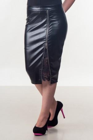 Zanna Brend. Женская черная юбка из экокожи. Артикул: *005