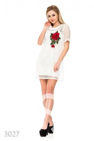 ISSA PLUS: Ажурное платье с крупной розой и нижним платьем в тон 3027_белый - главное фото