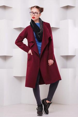 "TessDress. Пальто из кашемира в стиле casual ""Мадрид"" Bordo. Артикул: 3097"