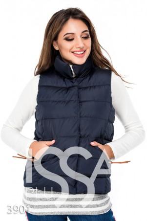 ISSA PLUS. Синяя дутая жилетка с высоким воротом и карманами. Артикул: 3901_синий