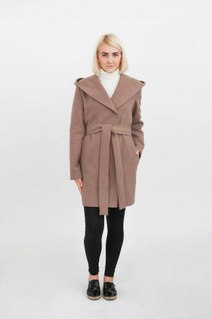 Marterina. Пальто укороченное с капюшоном кофе с молоком. Артикул: K08C09P76