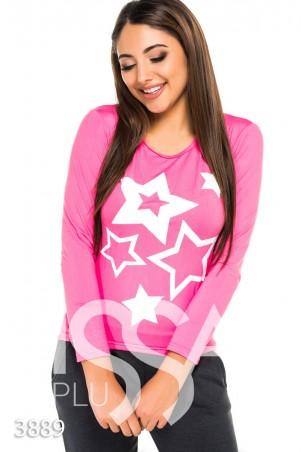ISSA PLUS: Розовый повседневный свитерок с белыми звездами 3889_розовый - главное фото
