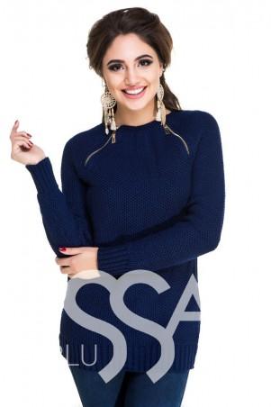 ISSA PLUS: Темно-синий удлиненный свитер-реглан с декоративными молниями 2478_синий - главное фото