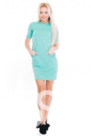ISSA PLUS: Мятное трикотажное  повседневное платье с карманами  9010_мятный - главное фото