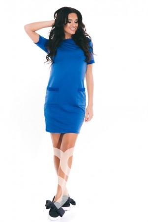 ISSA PLUS: Ярко-синее трикотажное  повседневное платье с карманами  9010_электрик - главное фото
