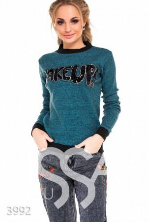 ISSA PLUS. Бирюзовый меланжевый батник с черными манжетами и надписью пайетками. Артикул: 3992_бирюзовый