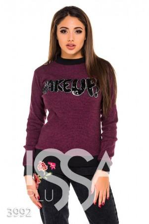 ISSA PLUS. Фиолетовый меланжевый батник с черными манжетами и надписью пайетками. Артикул: 3992_фиолетовый