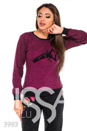 ISSA PLUS. Фиолетовый меланжевый батник с черными манжетами и махровой надписью. Артикул: 3993_фиолетовый