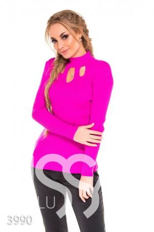 ISSA PLUS. Сиреневый свитер с тремя фигурными вырезами на груди. Артикул: 3990_сиреневый