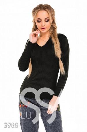 ISSA PLUS. Черный облегающий свитер в крупный рубчик с V-образным вырезом. Артикул: 3988_черный