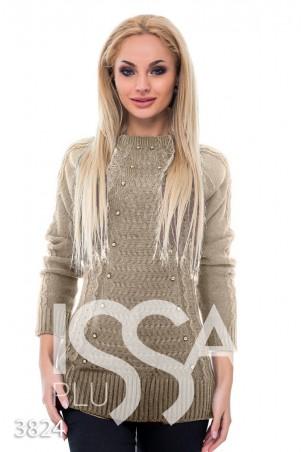 ISSA PLUS. Коричневый удлиненный свитер с объемным рисунком и жемчугом в тон. Артикул: 3824_коричневый