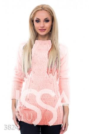 ISSA PLUS. Розовый удлиненный свитер с объемным рисунком и жемчугом в тон. Артикул: 3824_розовый