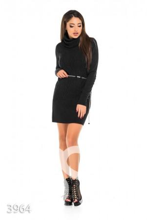 ISSA PLUS. Черное демисезонное платье с объемным рисунком и поясом-цепочкой. Артикул: 3964_черный