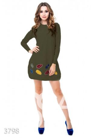 ISSA PLUS. Серо-зеленое вязаное платье-трапеция с цветными листьями. Артикул: 3798_хаки