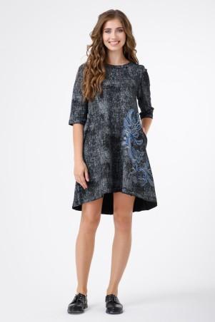 RicaMare: Платье в стиле деним с аппликацией RM1125_1 - главное фото