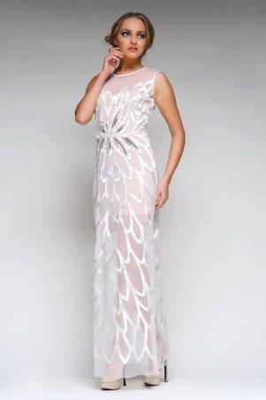 RicaMare: Прозрачное вечернее платье из атласных лепестков RM127-14VP-платье - главное фото
