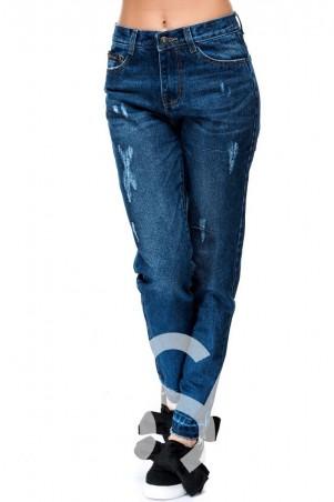 ISSA PLUS: Классические синие джинсы бойфренды с потертостями 3720_ синий - главное фото