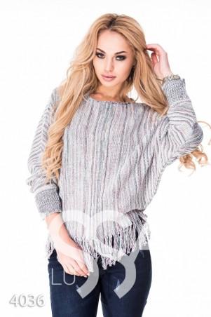 """ISSA PLUS: Белый свободный свитерок с бахромой и рукавами """"летучая мышь"""" 4036_белый - главное фото"""