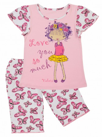 Valeri-Tex. Пишама бриджи с футболкой для девочки. Артикул: 0016-55-240-1