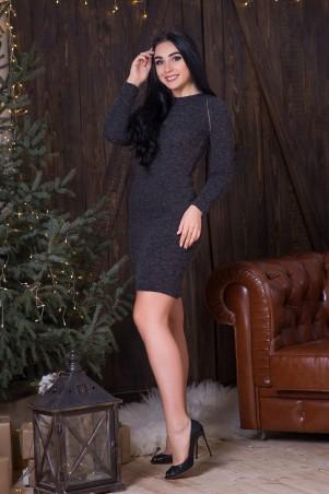 A-Dress. Темно-серое платье из ангоры с металлической молнией. Артикул: 70683