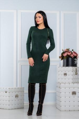 A-Dress. Теплое платье трендового зеленого цвета с золотой молнией. Артикул: 70681
