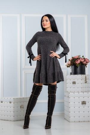 A-Dress. Серое платье из ангоры с бархатными бантами на рукавах. Артикул: 70670