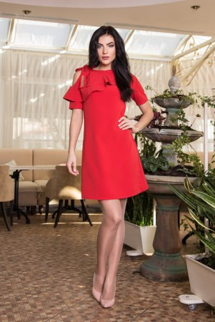 Sauliza. Красивое женское платье Воланчик красное. Артикул: 7105-6