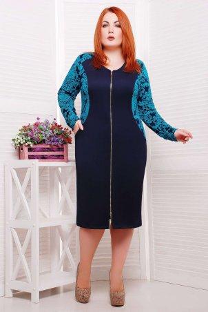 Tatiana: Платье со змейкой и вставками из жаккарда РИТА бирюзовое - главное фото