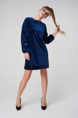 Marterina. Платье-трапеция из бархата синее. Артикул: K05P21BV18