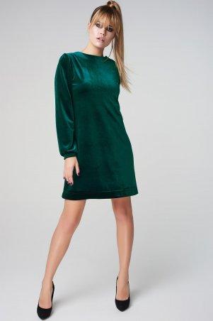 Marterina. Платье-трапеция из бархата зеленое. Артикул: K05P21BV31