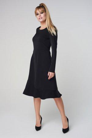 Marterina. Платье с рукавом и воланом по низу черное. Артикул: K08P29KM19