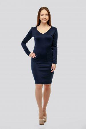 SML STORE. Платье. Артикул: 910.платье дайвинг открытая грудь карманы темно-синий