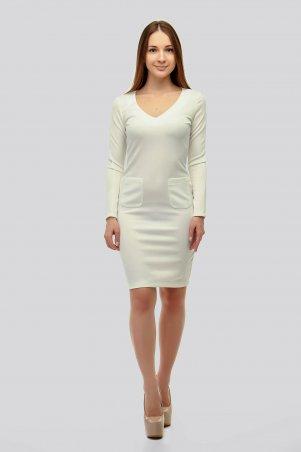 SML STORE. Платье. Артикул: 908.платье дайвинг открытая грудь карманы белый