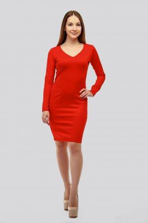 SML STORE. Платье. Артикул: 907.платье дайвинг открытая грудь карманы красный