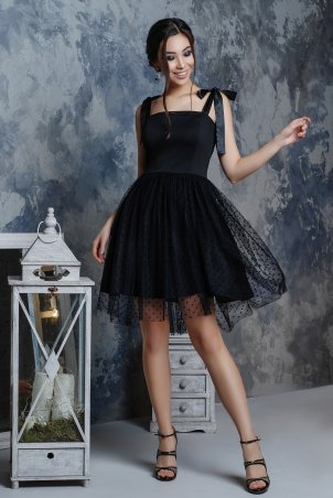 A-Dress: Черное платье с флоком в стиле барби 70790 - главное фото