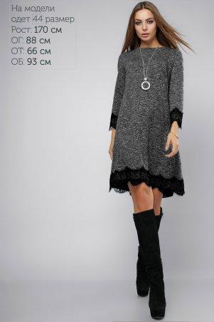 LiPar: Платье с гипюром серое 3035 черное - главное фото