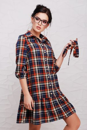 """TessDress: Платье в клетку с рюшей и поясом """"Дарси"""" Orange 1508 - главное фото"""
