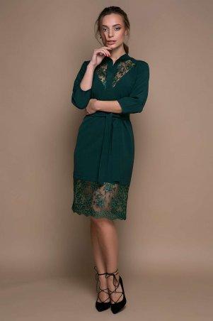 Zefir: Платье с кружевной отделкой VERA зеленое - главное фото