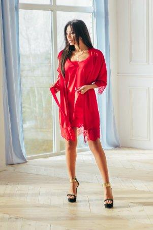 Amella Novak. Халат шелковый с длинным кружевом красным. Артикул: 1601