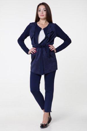 WearMe. Кардиган женский синий с замшей (длинный рукав). Артикул: 247