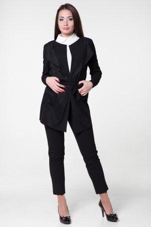 WearMe. Кардиган женский черный с замшей (длинный рукав). Артикул: 108