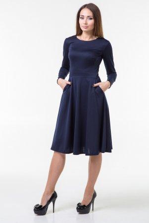 WearMe. Платье клёш т.синего цвета с длинным рукавом. Артикул: 100