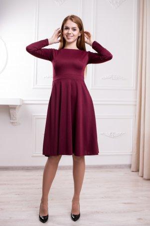 WearMe. Платье клёш бордового цвета с длинным рукавом. Артикул: 87