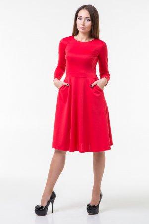 WearMe. Платье клёш красного цвета с длинным рукавом. Артикул: 86